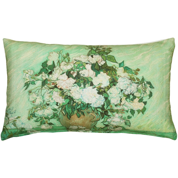 Van Gogh Vase with Pink Roses Throw Pillow