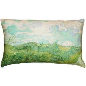 Van Gogh Green Wheat Fields Throw Pillow