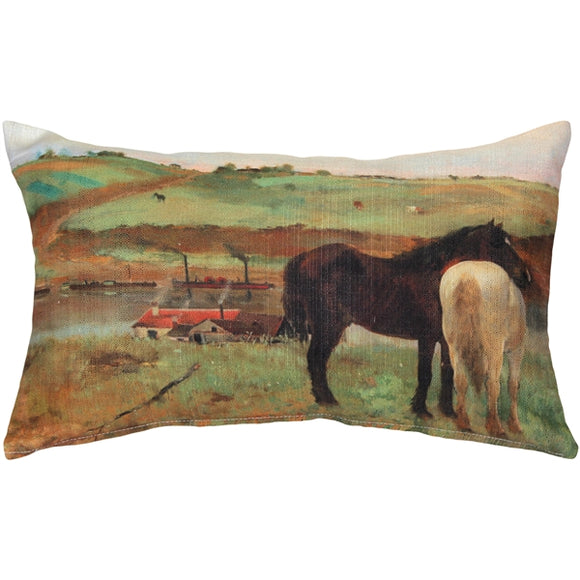 Edgar Degas Horses in a Meadow Throw Pillow
