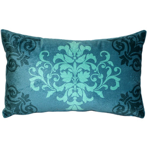Velvet Damask Teal Throw Pillow 11x18