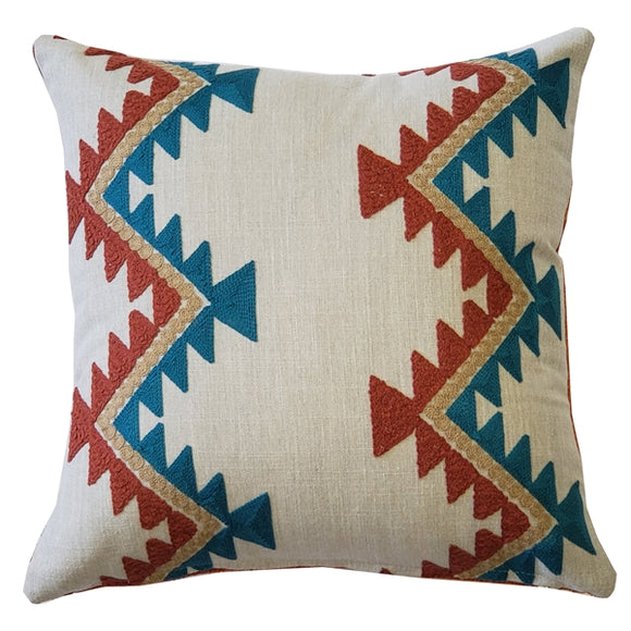 Tulum Coast Embroidered Throw Pillow 12x12