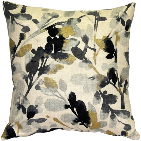 Linen Leaf Graphite Gray Throw Pillow 20x20