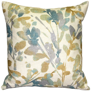 Linen Leaf Marine Throw Pillow 20x20