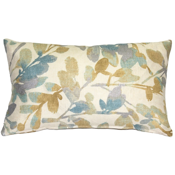Linen Leaf Marine Throw Pillow 12x20