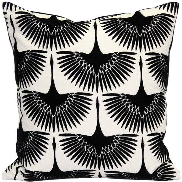Winter Flock Black and White Throw Pillow 20x20