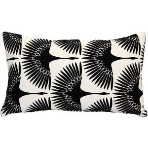 Winter Flock Black and White Throw Pillow 12x20