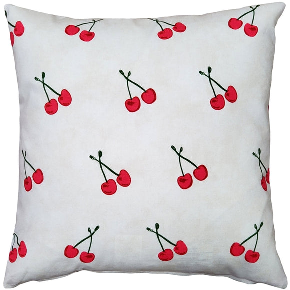Cherry Rain Cotton Print Throw Pillow 17x17