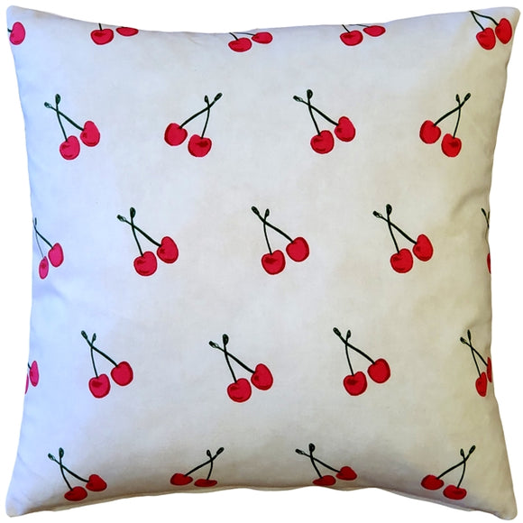 Cherry Rain Cotton Print Throw Pillow 20x20