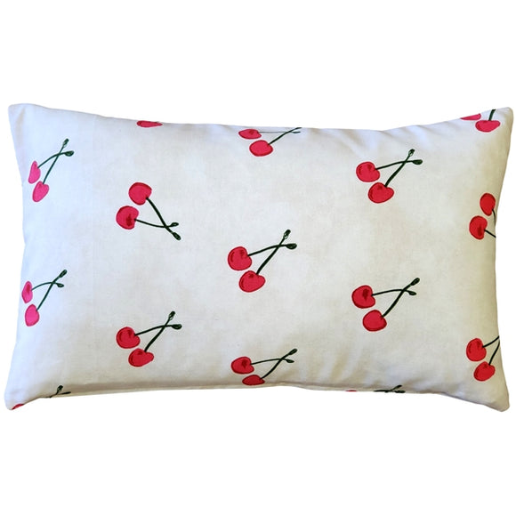 Cherry Rain Cotton Print Throw Pillow 12x20