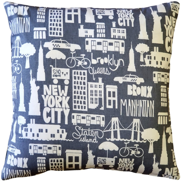 New York City Cotton Print Throw Pillow 17x17