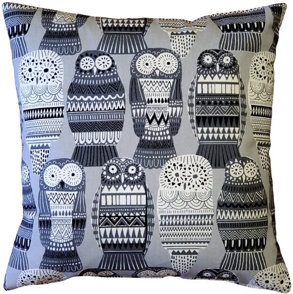 Midnight Owl Cotton Print Throw Pillow 17x17