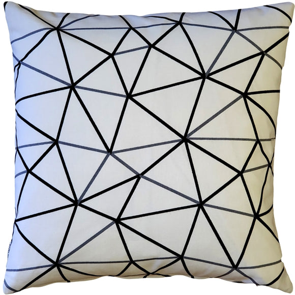 Crossed Lines Cotton Print Throw Pillow 17x17