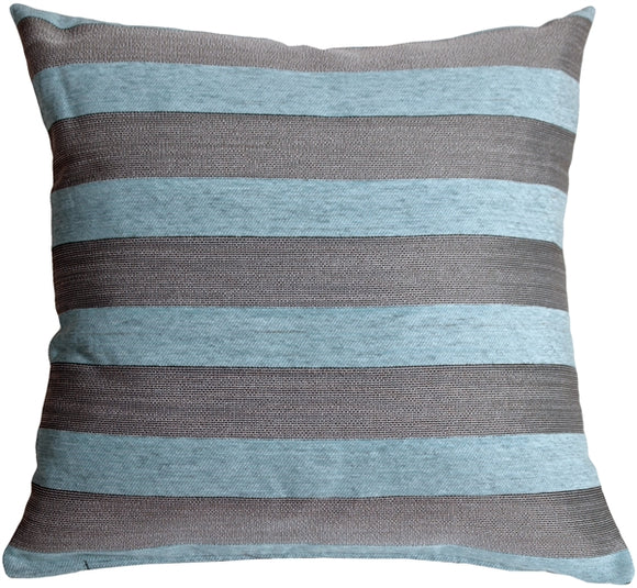 Brackendale Stripes Sea Blue Throw Pillow 22x22