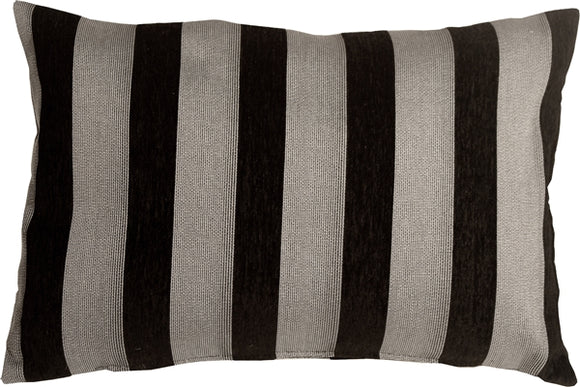 Brackendale Stripes Black Rectangular Throw Pillow 16x24
