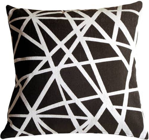 Criss Cross Stripes Black Throw Pillow