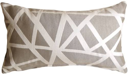 Criss Cross Stripes Gray Rectangular Throw Pillow