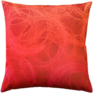 Feather Swirl Red Throw Pillow 20x20