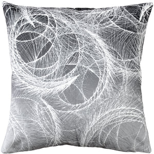 Feather Swirl Gray Throw Pillow 20x20