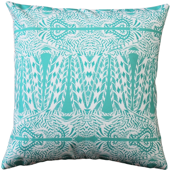 Partridge Stamp Turquoise Throw Pillow 20x20