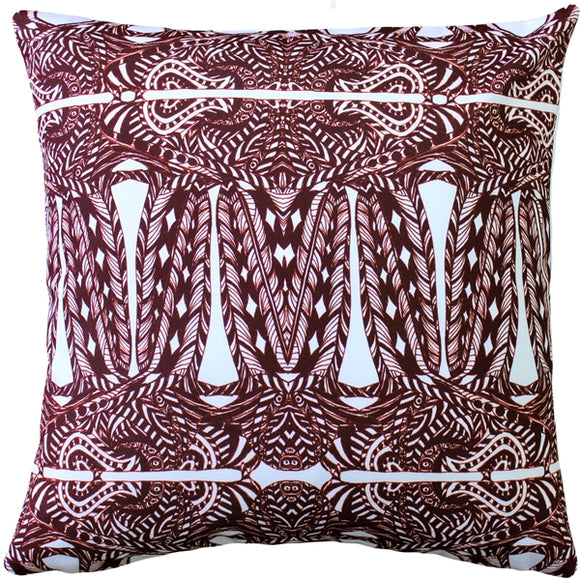 Partridge Stamp Marsala Throw Pillow 20x20