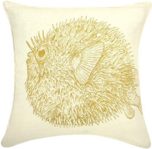 Thomas Paul Pufferfish Corn 18X18 Throw Pillow