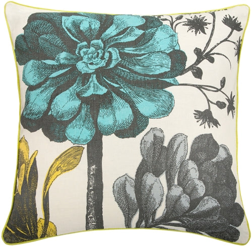 Thomas Paul Botanical Aqua 22x22 Throw Pillow