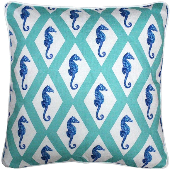 Capri Turquoise Argyle Seahorse Throw Pillow 20x20
