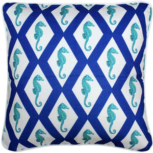 Capri Blue Argyle Seahorse Throw Pillow 20x20