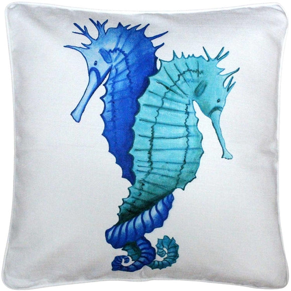 Capri Entwined Seahorses Throw Pillow 20x20