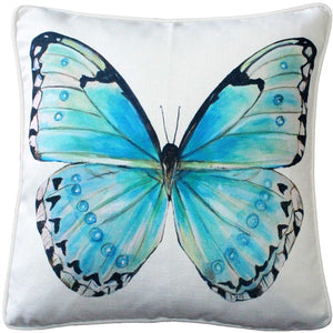 Costa Rica Robin's Egg Butterfly Throw Pillow 20x20