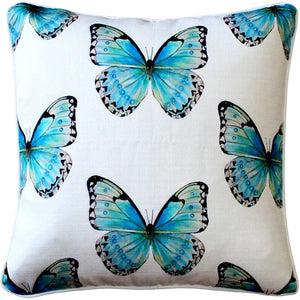 Costa Rica Robin's Egg Butterfly Large Scale Print Throw Pillow 20x20