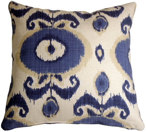 Bold Blue Ikat 20x20 Decorative Pillow