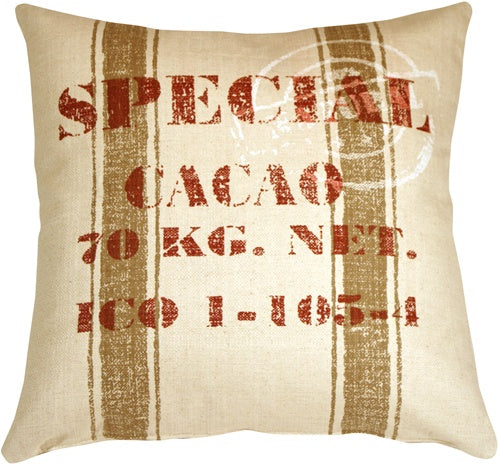 Cacao Bean Red Print Throw Pillow