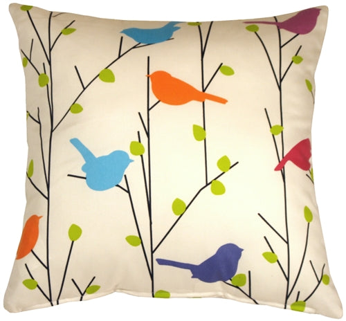 Spring Birds 17x17 Decorative Pillow