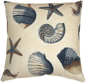 Sea Shells Blue 22x22 Throw Pillow
