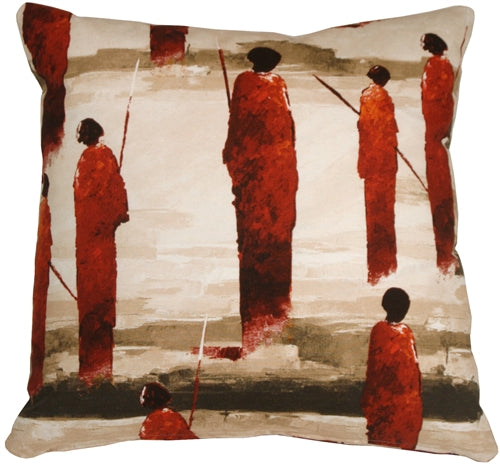 Masai Warrior 22x22 Red Throw Pillow