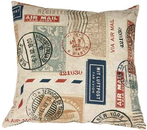 Vintage Postage Stamp Color 18x18 Throw Pillow