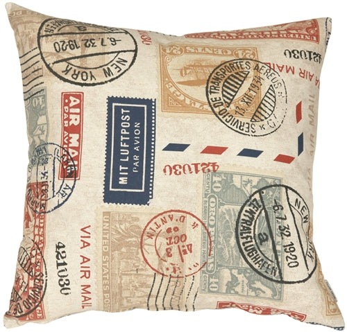 Vintage Postage Stamp Color 22x22 Throw Pillow