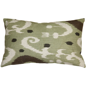 Indah Ikat Green 12x20 Throw Pillow
