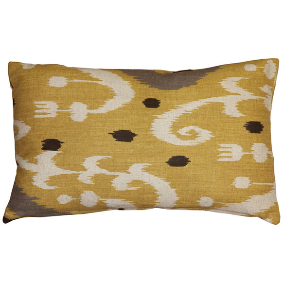 Indah Ikat Yellow 12x20 Throw Pillow