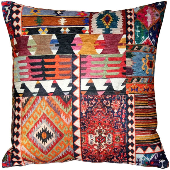 Kilim Collage Throw Pillow 19x19