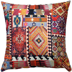 Kilim Collage Throw Pillow 25x25