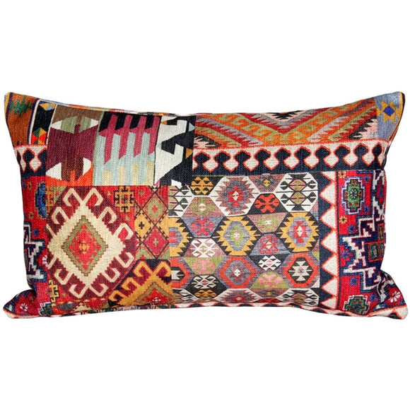 Kilim Collage Throw Pillow 12x20