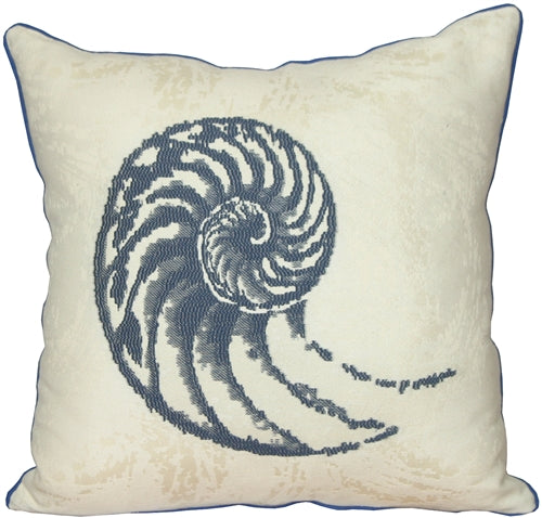 Nautilus Shell Blue 20x20 Throw Pillow