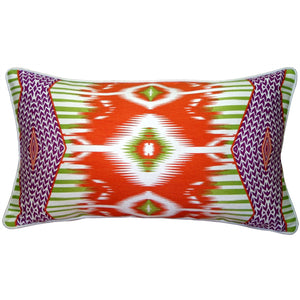 Electric Ikat Orange 15x27 Throw Pillow