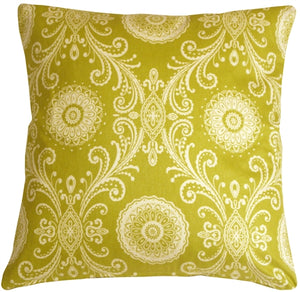 Filigree Green 17x17 Throw Pillow