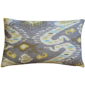 Solo Gray Ikat Throw Pillow 12x20
