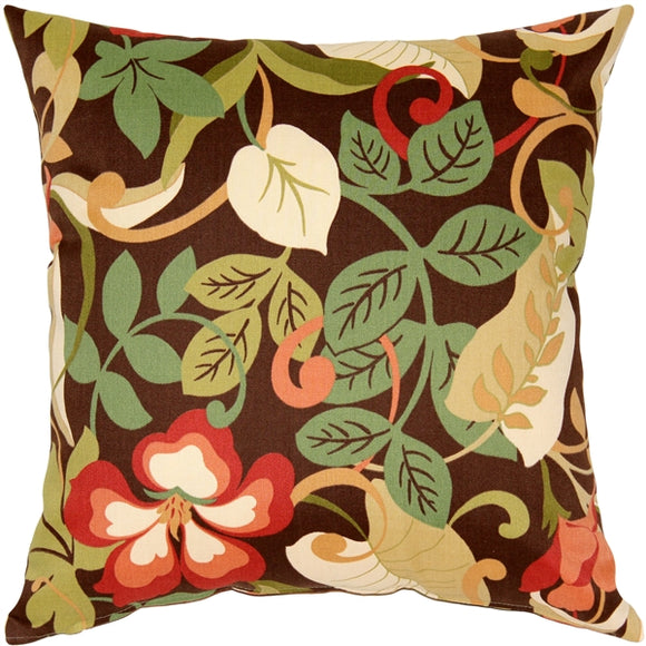 Vallarta Brown Floral Outdoor Throw Pillow 19x19