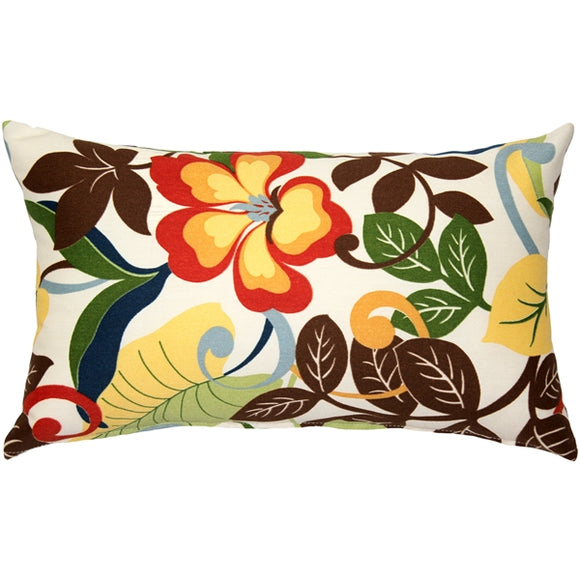 Vallarta White Floral Outdoor Throw Pillow 12x20