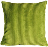 Wide Wale Corduroy 22x22 Green Throw Pillow